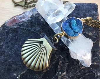 Druzy Clam Shell Pocket Watch Necklace FREE Gift Box FREE Shipping Codes Steampunk Jewelry Mermaid Necklace Gypsy Boho Jewellery Watch Works