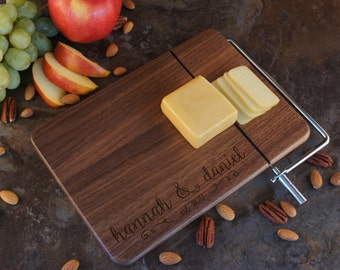 Personalized Cheese Board with Stainless Steel Cheese Wire & Handle Engraved with Monogram Design Elements and Font Selection (Each)