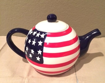 Vintage Lillian Vernon Stars And Stripes Teapot Collectible