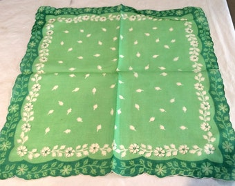 Vintage Floral Green & White  Hankerchief  Beautiful!
