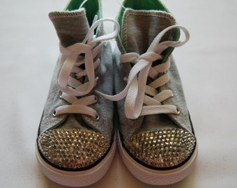 I-9 Unisex infant heather grey and sea foam green high top Converse with white rhinestones