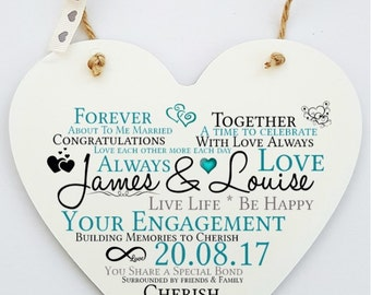 Personalised Engagement Hanging Heart Sign Plaque.