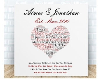Personalised Love Message Ceramic Plaque. Personalised Gift. Anniversary, Birthday, Valentine's Day