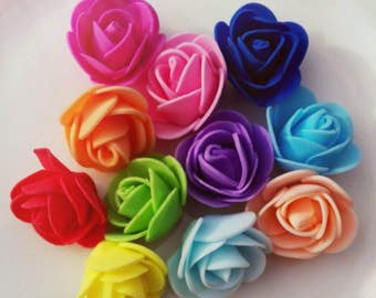 10 pcs Flowers - Rose Foam 30/35mm in different colors