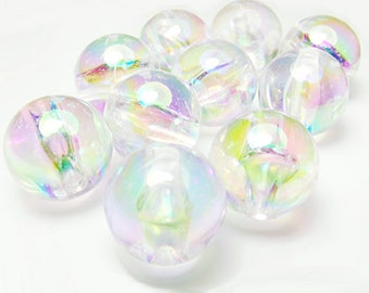 10 x Magical mermaid bubble beads, 12mm.