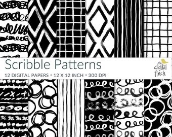 "Scribble Patterns - hand painted black and white digital papers - scrapbooking paper - 12x12"" - high res - instant download - commercial use"