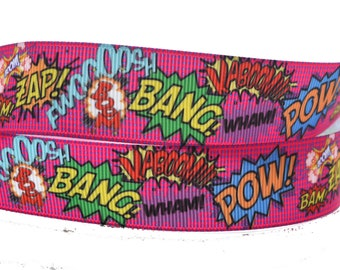 "Pink Action Pow Zap Bam Wham Bang Comic Book Action Printed Grosgrain Ribbon 1"" Wide PA4617"