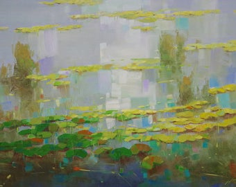 Waterlilies Pond, oil Painting, Original hand made artwork, large size painting, Impressionism, One of a kind