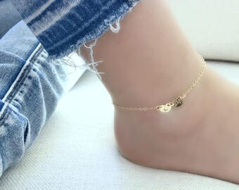 heart anklet personalized anklet 14k gold filled hearts monogram initial letter jewelry cubic zirconia star anklet heart jewelry initials