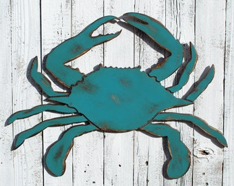 Blue Crab Nautical Decor Crab Sign Wood Crab Beach Decor Nautical Wall Art Restaurant Decor Beach House Decor Seafood Coastal Decor Crab