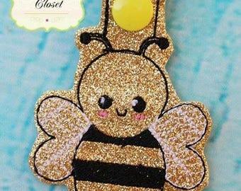 Bumble Bee - Honey Bee - Bee - In The Hoop - Snap/Rivet Key Fob - DIGITAL EMBROIDERY Design