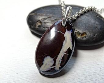 Koroit opal pendant silver, boulder opal necklace silver, Australian opal pendant, matrix opal necklace, mens opal pendant anniversary gift