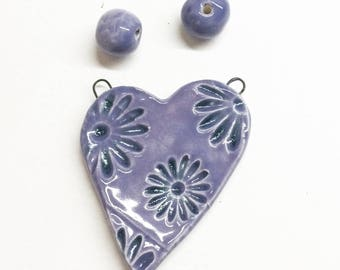 Handmade Earthenware clay heart pendant with matching beads
