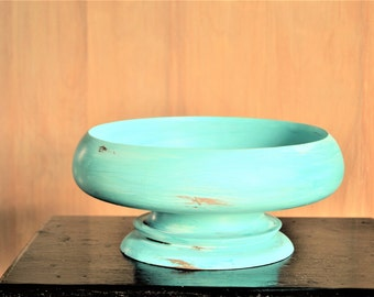 UPCYCLED WOOD BOWL Handpainted Distressed Turquoise Wood Bowl for Home Decor