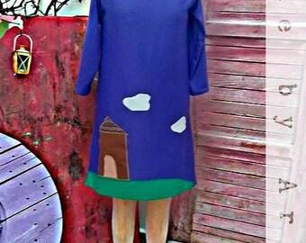Handmade dress, purple, aplique house