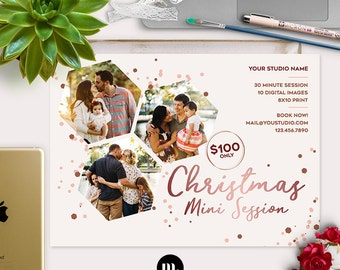 Christmas Mini Session Photoshop Template for Photographer - Photography Marketing Material - INSTANT DOWNLOAD - MS040