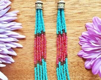 Tassel Seed Bead Earrings, Seed Bead Earrings, Fringe Beaded Earrings, Long Dangly Earrings, Long Beaded Earrings,