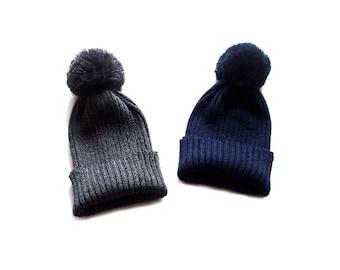 Babies/Children's merino wool mid-season short beanie with pom-pom/hat/rib knit