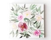 Original Floral Watercolor Canvas | Bridesmaid Gift | Watercolor Flowers | Nursery Wall Art | Peony Wall Art |Hibiscus Wall Art |Girl's Room