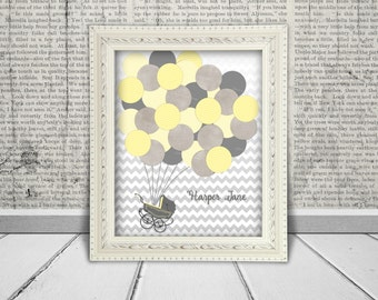 Baby Shower Guest Book Alternative Printable Digital JPG File - Guests Sign the Balloons, Baby Carriage -  Gender Neutral  Yellow & Gray