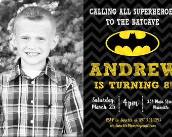 Batman Superhero Birthday Party Invitation - Printable or Printed