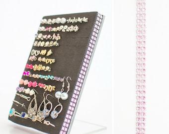 Stud Earring Holder - Light Pink Jeweled Ribbon - Earring Organizer