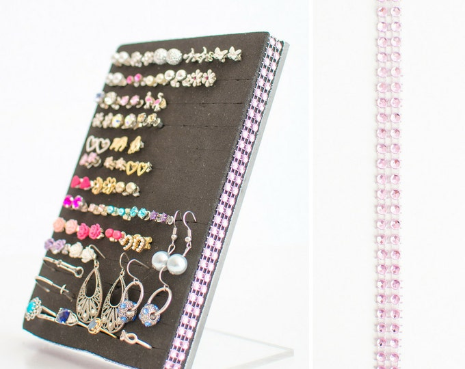 Stud Earring Holder - Light Pink Jeweled Ribbon - Earring Organizer