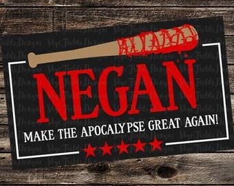 "Negan ""Make the Apocalypse Great Again"" SVG, Silhouette Studio, Cameo, Cricut, Shirt, Negan's Bat ""Lucille"" The Walking Dead TWD Trump"