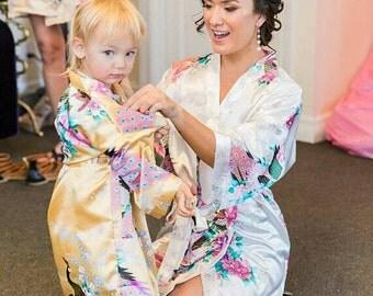 Children's Floral Satin Flower Girl Robes/Gowns