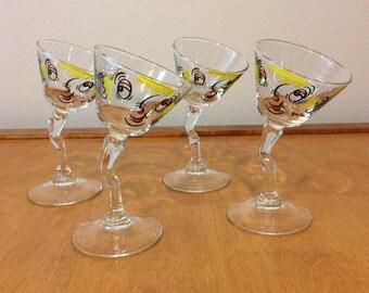 Set of 4 - Gay Fad Design - Drunk Martini Glasses - 1960's