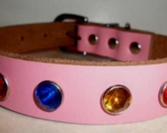 Genuine Pink Leather Jeweled Dog Collar