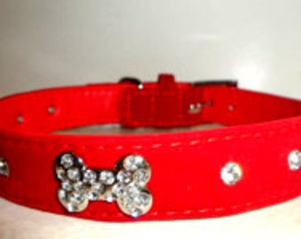 Red Velvet Dog Collar and Leash Set!