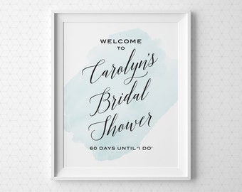 PRINTABLE Bridal Shower Signs, Modern Bridal Shower Welcome Sign, Personalized Printable Wedding Shower Sign, Black Blue Pink Yellow BS2BP
