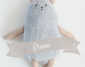 Teddybear  Bruno, grey softie, plushie