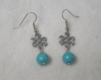 Turquoise earrings with Celtic Endless Knot charm
