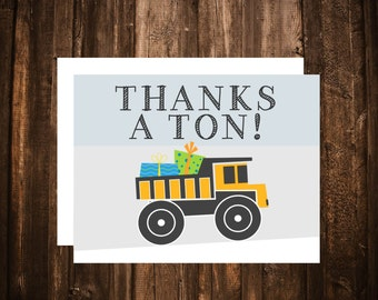 Big Trucks Thank You Card; A2 Folded; Blank Inside; Printable or set of 10