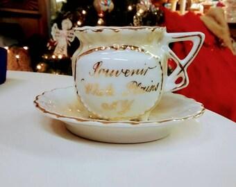 White Plains, NY 1930's Souvenir Cup + Saucer