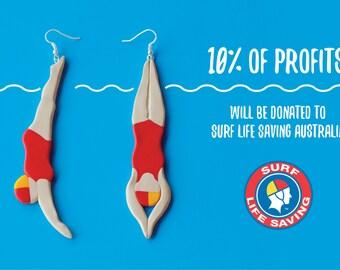Australian Surf Life Saver Earrings