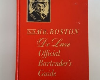 Vintage 1960 edition Deluxe Old Mr. Boston Bartenders Guide, barware, mid century