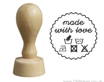 MADE WITH LOVE  stamp / Rubber stamp /sewing stamp / label stamp / how to wash stamp / tags stamp / handmade by stamp