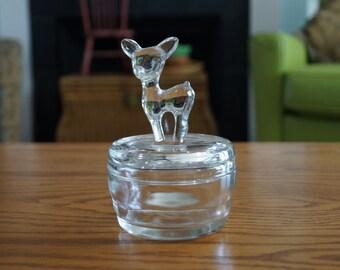 Vintage Jeannette Clear Glass Deer/Fawn/Bambi Powder Jar 1940s