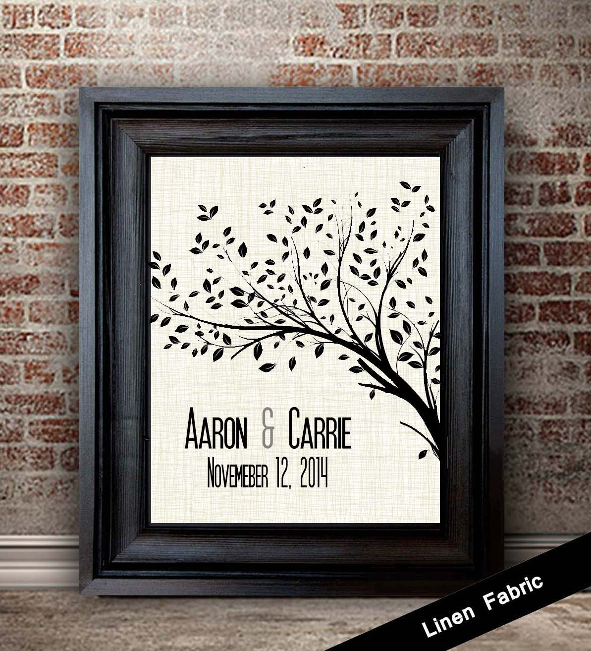4th Anniversary Gift Ideas Linen Anniversary Print TREE