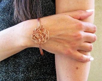 Copper Cuff Bracelet, Wrap Bracelet, Copper Bracelet, Flower Bracelet, Bracelet for Mom, Statement Bracelet, Unique Bracelet,