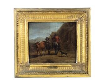 Nicholaes Berchem -Landscape w/ Peasants & Animals  - 17th Century Oil Painting