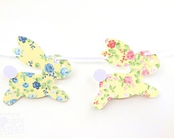 Floral Bunny Rabbit Garland. Pastel roses. Easter, Spring, babyshower decor, banner, birthday party. Pink and blue floral with pale yellow.