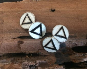Antique Cuff Links with Black Triangle