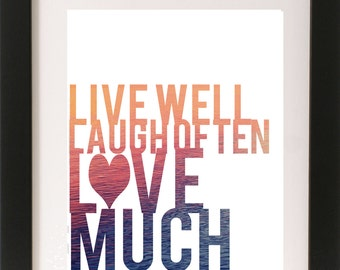 Live Well Laugh Often Love Much (Sunset)   Digital Download