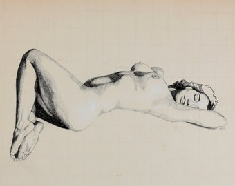 "Fine Art Print*, charcoal drawing on antique paper; nude woman, lying on her back; ""Carolina"""