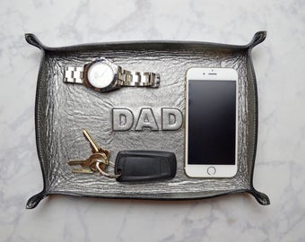 DAD large metallic gunmetal leather tray / catch all / mens / dresser organizer / valet tray / dad gift / fathers gift / wedding gift