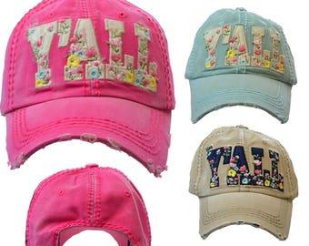 Floral Hey Y'all Vintage Baseball Hat ~ Hey Y'all Baseball Cap ~ Hey Y'all ~ Y'all Baseball Hat ~ Adorable